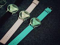 Free shipping Sales Wholesale Brand Watch Fashion Hollow Triangle Leather Women Dress watch Cartoon Watch ML0597