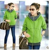 2014 autumn new Korean Women thick hooded zip cardigan sweater coat jacket student