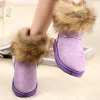 2015 HOT Style Short boots artificial fox rabbit  Design  fur tassel women's snow boots Height women Winter shoes  ASH102