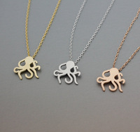 30 Piece-N114 wholesale New Arrival Fashion Brass Cute Octopus Pendant Necklace,animal fish necklace -Free shipping