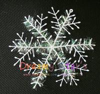 3pcs/lot Christmas Gift White Plastic Christmas Snowflake Sheet Ornament Merry Xmas Tree House Decoration With Shining 10*11cm