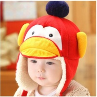 free shipping 3M-3years old baby Penguin animal earmuffs thickened infant and children's winter cap