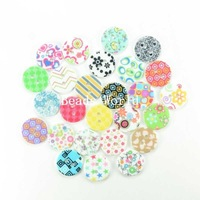 Wholesale Free Shipping 100 Pcs Resin Sewing Buttons Scrapbooking 2 Holes Random Mixed Pattern Knopf Bouton 18mm(W04056)