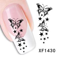 Free shipping Japanese style watermark 1 Sheets 3D Design cute black butterfly Tip Nail Art nail sticker nails Decal nail tools