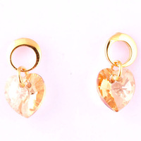 CLearance sale18k real gold filled heart  stud crystal earrings BA-018 Neoglory Jewelry Outlets Rihood jewelry