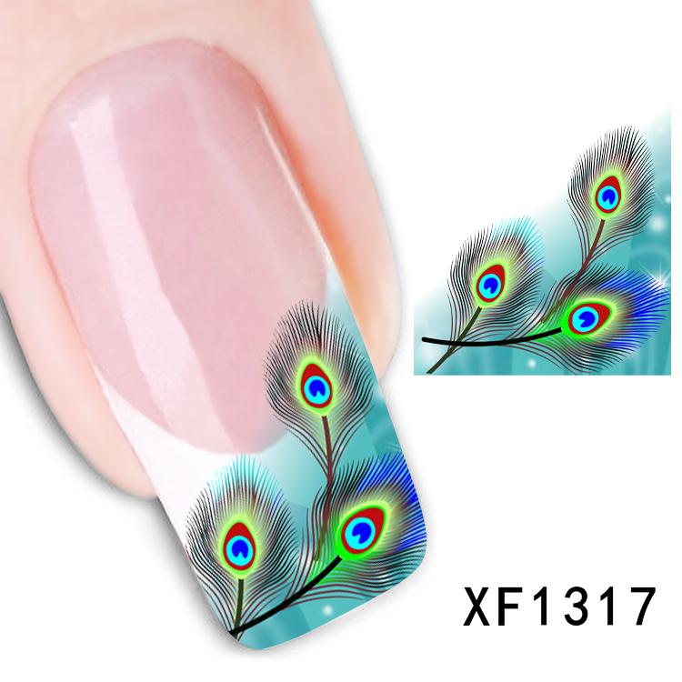 Free shipping Japanese style watermark 1 Sheets 3D Design cute green fearhers Tip Nail Art nail sticker nails Decal nail tools(China (Mainland))