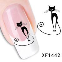 Free shipping Japanese style watermark 1 Sheets 3D Design cute DIY black cat Tip Nail Art nail sticker nails Decal nail tools