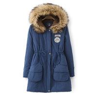 2014 Winter Long Women Thickening Coat Fur Cotton Hooded Coats Slim Outerwear Plus size XXXL Wholesale Down Parkas