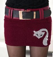 2014 Vogue Women Short Skirts Korean Style All Match Elegant PU Patchwork Solid Color Slim Female Mini Woolen Skirts With Belt