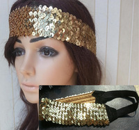 12pcs women girl's fashion blingbling elasticity headband sparkly gold color sport hair bands scales hair accessories