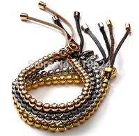 New arrived!!4 colors  brand  jewellery leather bracelet cooper brass 6mm beads women bijoux ladies new 2014
