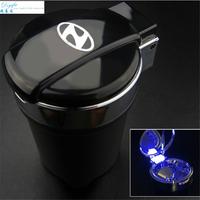 Car styling Portable auto interior decoration LED Light Smokeless Ashtray Cigarette Holder for Hyundai solaris ix35 i30 accent