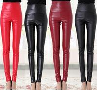 2014 New Fashion Women's Pants PU Pants Solid Color High Waist Elastic PU Slim Long Pencil Pants Plus Size