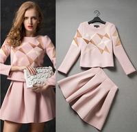 European and American Ladies new winter Space cotton leisure aristocratic temperament suit jacket + skirt