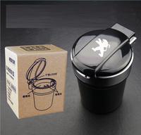 Car styling Portable auto interior decoration LED Light Smokeless Ashtray Cigarette Holder for Peugeot 207 308 508 408 3008 4008