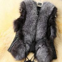 Low Price 2015  Winter New Design Leather Fur Vest gilet outwear women coat