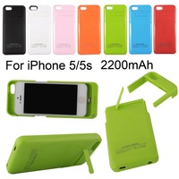 Free shipping ! 2200mAh Rechargeable External Battery Backup Charger Case Cover Pack Power Bank for iPhone 5/5S/5G Black White
