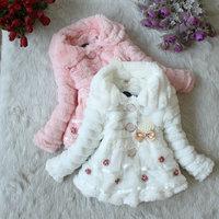 Girls Artificial Fur Pearl Pendant Coat Winter Clothes Children Kids Children's Sweet Warm Outerwear Jacket WJ0009 2015 A268-90