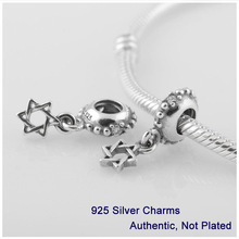 LW291 Authentic 925 Sterling Silver Star of David With Clear CZ Dangle Charm Bead Fits Pandora Bracelet Jewelry DIY Making