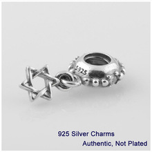 LW291 Authentic 925 Sterling Silver Star of David With Clear CZ Dangle Charm Bead Fits Pandora