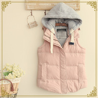Japanese Retail 2014 New Mori Girl Winter Fashion Women Pure Color Hooded Vest,Female Casual Thicken Coats,Free Shipping al069