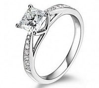 925 sterling silver simulated diamond platinum plated wedding rings Engagement Rings Women's jewelry