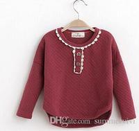 2014 hot fall Children T-shirt for Girls Lace Button Plaid Children Shirt Long Sleeved Girls Tops Dark Red Navy Blue Lb2174