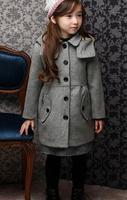 2014 Winter New Childrens outwear girls lapel collar outwear korean windbreaker single-breasted tench coats LW8057