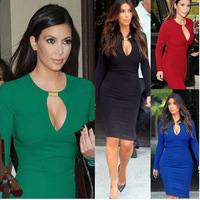 HOT 2014 women sexy Vneck dress fashion sweet Evening dresses plus size 4 color lady 1020