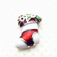 20pcs/lot Free Shipping Diy Fashion Alloy Enamel Christmas Stocking Floating Charm For Origami Owl Memory Living Locket