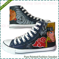 Cartoon Anime Figure One Piece Graffiti Shoes Naruto and Luffy Style Unisex High-top Couple Male Female Painted Canvas Shoes