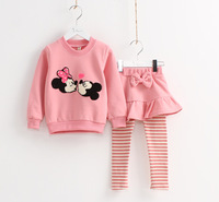 4colors!  cartoon sweatshirt with skirts leggings flower girl's minnie mouse hoodies trousers autumn children's clothing sets