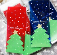 Red and Blue Christmas tree Design Plastic Gift Bag, Candies / Cookies Bag, Adhesive Bag 400pcs/lot