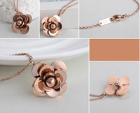 Fashion Top Brand Camellia Stainless Steel Necklace Pendant Jewelry For Women Free shipping Hot Selling High Quality