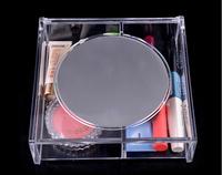 Desktop Cosmetics Shelves Display Rack 2 Grid with Mirror