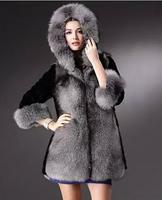 2015 Winter New  women  Hooded thickening Faux Fox Fur coat warm overcoat