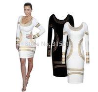 2014 New Celebrity Midi Bodycon Dress Women Gold Foil Tribal Slim Tunic Pencil Cocktail Party Dresses Sexy Ladies Dress