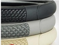 high quality  leather Drop Shipping Wholesale free shipping 1pcs car steering wheel cover Black Genuine Artificial