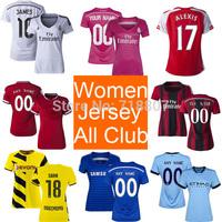 14/15 Women Soccer Jerseys for All Team Club Real Madrid Women White Jersey Chelsea Dortmund Juve Black Blue Yellow Green Pink