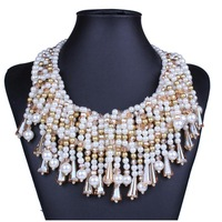 2014 top brand Europe and America exaggerate multilayer pearl women luxury pendant&necklace