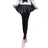 New fashion Korean style lotus leaf pleated waist culottes female plus velvet thick warm leggings 2 Colors