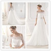 2015 Latest A-line Floor length Court train Sheer Strapless Neckline With Half Sleeves Beading Waist Bodice Wedding Dress