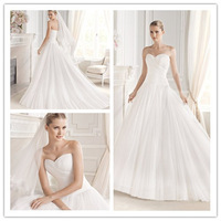 Luxury Ball Gown Floor length Sweep train Strapless Scoop Neckline Ruched Tulle Netting Wedding Dress Bridal Gown
