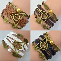 Free shipping 3pcs Harry Potter Magic Hallows Charm Multilayer Braided Bracelet Vintage Owl Wing Personaliz bracelet ZH-BR-3