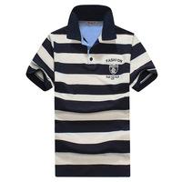 Mens V Neck Striped Short Sleeve Tee Tops Shirts Cotton Slim Fit T-shirt M-XL