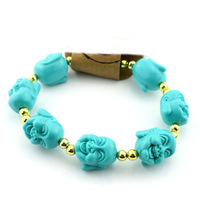 Fashion vintage cute blue budda face with gold plated bead unisex bracelet free shipping