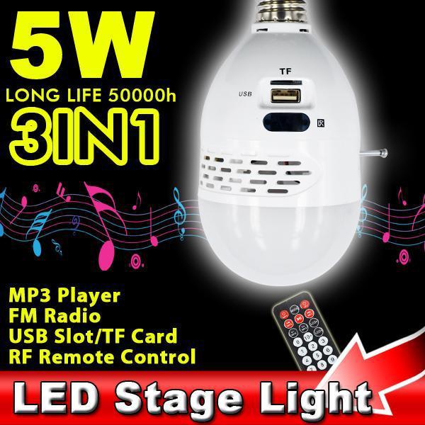T E27 5W LED Stage Lamp DJ Bulb Stereo Speaker Light Wireless Remote Control TF Card USB MP3 Player FM Radio Receiver Adjustable(China (Mainland))