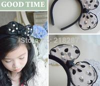 Free Shipping 2014 New 10pcs/lot Fashion Pearls Polka Dot Bows Baby Hairbands Girls Hair Accessories Rabbit Ear Headbands
