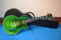new  custom electric guitar in metal green made in China  with suitcase+free shipping