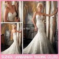 Mermaid Sweetheart Sleeveless Embroidery Crystal Applique Vestido Para Casamento Sexy Wedding Dress